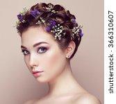 face of beautiful woman... | Shutterstock . vector #366310607