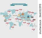 world capitals cities buildings ... | Shutterstock .eps vector #366332393