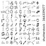 vector hand drawn arrows set... | Shutterstock .eps vector #366339077