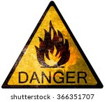 old yellow danger sign   fire | Shutterstock . vector #366351707