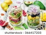 homemade healthy salads with... | Shutterstock . vector #366417203
