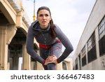 athlete brunette woman jogger... | Shutterstock . vector #366467483