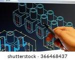 engineer working on cad blue... | Shutterstock . vector #366468437