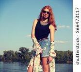 bohemian fashion girl in kimono ... | Shutterstock . vector #366473117