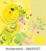 vector summer girl | Shutterstock .eps vector #36655327