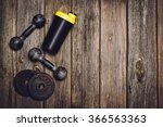 old iron dumbbells or exercise... | Shutterstock . vector #366563363