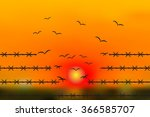 wire barb transform into flying ... | Shutterstock .eps vector #366585707