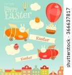 easter card   easter bunnies... | Shutterstock .eps vector #366637817