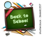 welcome back to school template ... | Shutterstock .eps vector #366681557