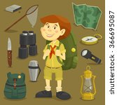 boy scout with camping tourist... | Shutterstock .eps vector #366695087