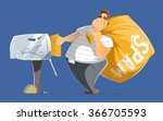 fat man spammer with big sack... | Shutterstock .eps vector #366705593