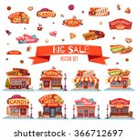 vector set of cafe  restaurant  ... | Shutterstock .eps vector #366712697