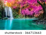 waterfall in autumn forest at... | Shutterstock . vector #366713663
