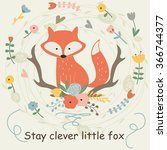 vector illustration of cute fox ... | Shutterstock .eps vector #366744377
