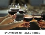 glasses of red wine on a... | Shutterstock . vector #366745883