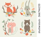 vector illustration with cute... | Shutterstock .eps vector #366746153