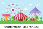 flat retro funfair scenery with ... | Shutterstock .eps vector #366754823