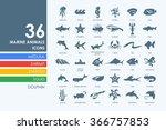 set of marine animals icons | Shutterstock .eps vector #366757853