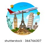 famous monuments of the world... | Shutterstock . vector #366766307