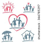 family. vector icon set. | Shutterstock .eps vector #366785297