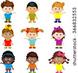 cartoon funny happy kids | Shutterstock . vector #366832553