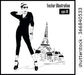 fashion girl in sketch style.... | Shutterstock .eps vector #366840533