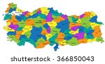 colorful turkey political map... | Shutterstock .eps vector #366850043