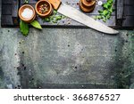 cooking set with kitchen knife... | Shutterstock . vector #366876527
