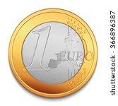 One Euro. Realistic Vector Coi...