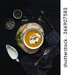 Pumpkin Soup With Cream  Seeds...