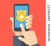 call police app on smartphone... | Shutterstock .eps vector #366946127