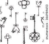 vintage keys. seamless pattern. ... | Shutterstock .eps vector #366984653