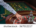 roulette wheel and croupier... | Shutterstock . vector #367012217
