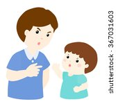 son and father arguing on white ... | Shutterstock .eps vector #367031603