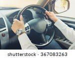 man driving car  steering wheel ... | Shutterstock . vector #367083263