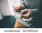 hands counting us dollar bills. ... | Shutterstock . vector #367090163