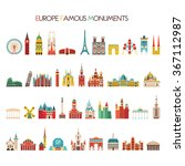 europe famous monuments set.... | Shutterstock .eps vector #367112987