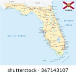 florida road map with flag   Shutterstock .eps vector #367143107