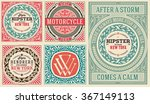 retro cards set  with floral... | Shutterstock .eps vector #367149113