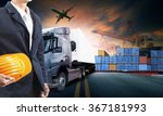 working man and truck loading... | Shutterstock . vector #367181993
