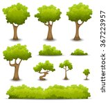 Forest Trees, Hedges And Bush Set/ Illustration of a set of cartoon spring or summer forest trees and other green forest elements, bonsai, foliage, bush and hedges