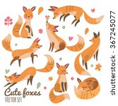 Cute Foxes Vector Set. Eight...