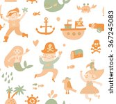 lovely boys and girls in pirate ... | Shutterstock .eps vector #367245083