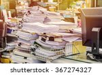 pile of documents on desk stack ... | Shutterstock . vector #367274327