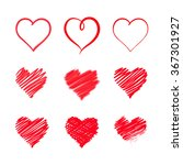 vector of set of red heart... | Shutterstock .eps vector #367301927