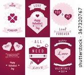 set valentine postcard   | Shutterstock .eps vector #367320767