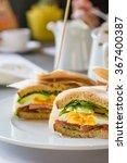 sandwich with egg  ham  avocado ... | Shutterstock . vector #367400387