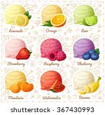 Stock vector set of cartoon vector icons isolated on white background ice cream scoops with different fruit and 367430993