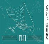 fiji. fijian canoeing. retro...