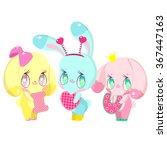 three very cute bunny. one... | Shutterstock .eps vector #367447163